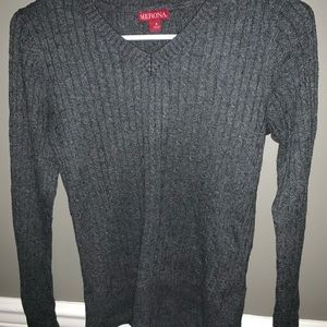 Sweaters - Gray Ribbed Fitted Sweater